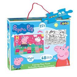 Παζλ Χρωματισμού δαπεδου Peppa Pig 2 Όψεων Luna Toys, 48 Τμχ., 90x60 εκ.