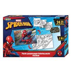 Παζλ Χρωματισμού Spiderman 2 Όψεων 3 Σελ Χρωμ, Luna Toys, 24 Τμχ., 41x28 εκ.