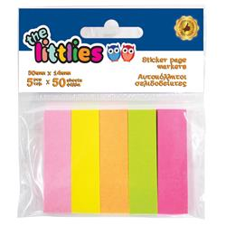 Αυτοκόλλητοι Σελιδοδείκτες The littlies Ορθογώνιοι 5 Χρωμάτων 50 Φύλλων, 50x14mm