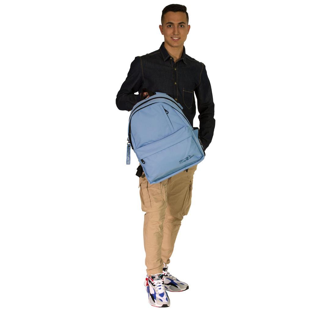 Τσάντα Πλάτης Must Monochrome Rpet Ανοιχτό Μπλε με 2 Κεντρικές Θήκες