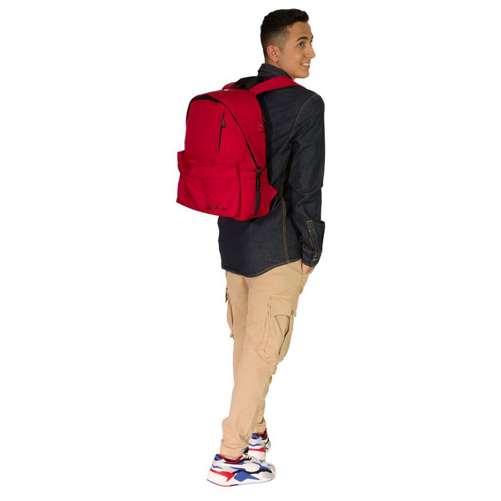 Τσάντα Πλάτης Must Monochrome Rpet Κόκκινη με 1 Κεντρική Θήκη
